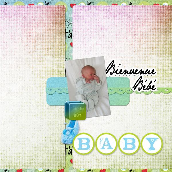 kit bienvenue bébé simplette page leaugoscrap