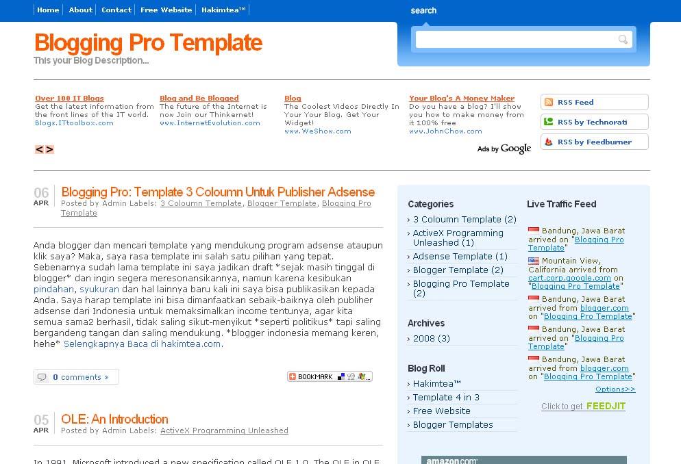 Preview: Template 3 Coloumn Untuk Publisher Adsense